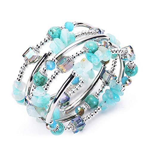 Crystal Turquoise Wrap Bracelets for Women - Most Popular Color In 2019 Fashion Bohemian Jewelry Multilayer Charm Bracelet for Girls, Best Gifts for Birthday, Valentine's Day, Mother's Day - Pave Turquoise Bracelet