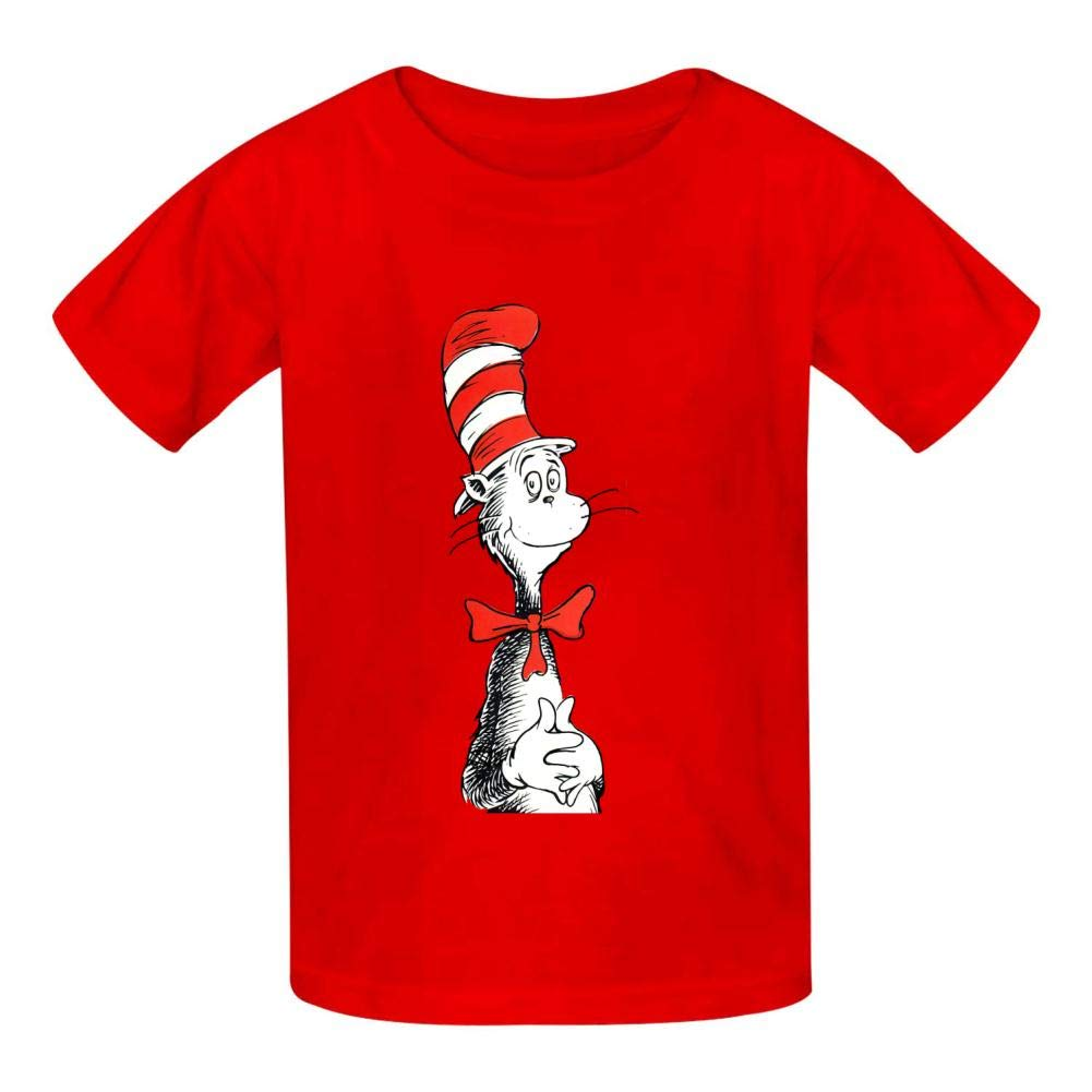 KAWDIS The C-at in The H-at Basic Daily Wear Cotton Graphic T Shirts for Girls and Boys