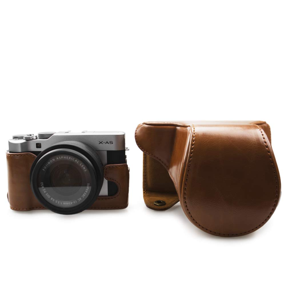 kinokoo Leather Camera Case for Fujifilm X-A3 Fujifilm X-A10 Fujifilm X-A5 and 16-50mm lens with shoulder strap and cleaning cloth brown