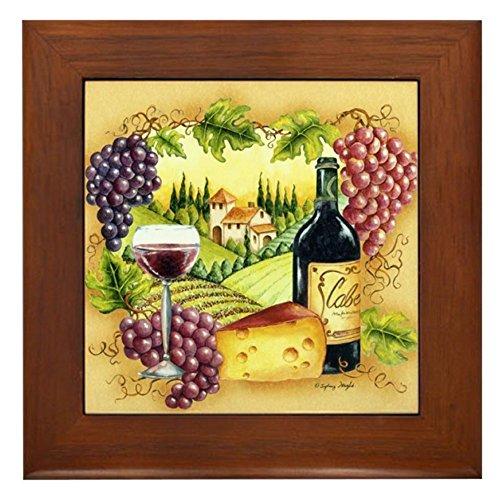 (CafePress - Grape Framed Tile - Framed Tile, Decorative Tile Wall Hanging)