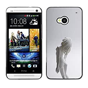A-type Arte & diseño plástico duro Fundas Cover Cubre Hard Case Cover para HTC One M7 (Mujer Android)