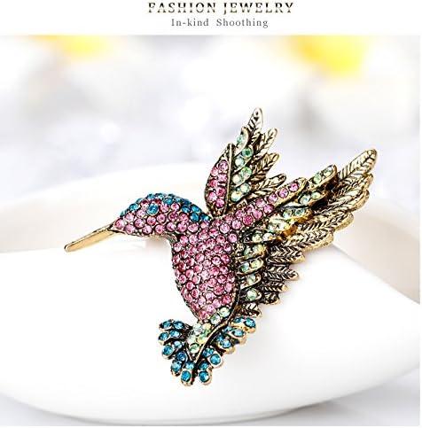 Jounkal Hummingbird Brooch Pin Multi Color Rhinestone Scarf Clips Brooches Pins