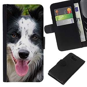 EJOY---La carpeta del tirón la caja de cuero de alta calidad de la PU Caso protector / Samsung ALPHA G850 / --Raza Border Collie perro de mascota Hocico