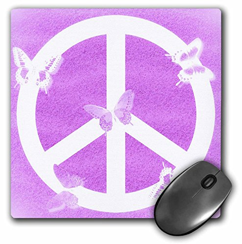 3dRose Patricia Sanders Creations - Pink Sand Peace Sign Butterflies- Inspirational Art - MousePad (mp_40235_1)