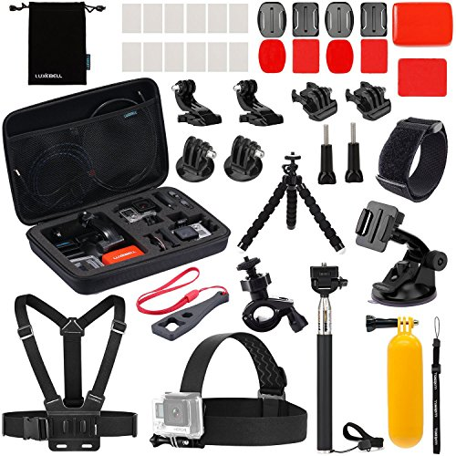 Luxebell Accessories Kit for AKASO EK5000 EK7000 4K WIFI Action Camera Gopro Hero 6 5 Fusion Session 5 Black Sliver Hero 4/3+/3/2/1 (22-in-1) by Luxebell