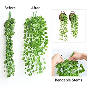 ReachTop Artificial Ivy Leaves Garland, 90cm 35inch Office Greenery Fake Silk Watermelon Leaves Foliage Hanging Vine Plant for Home Fence Wedding Party Garden Wall Decoration 5