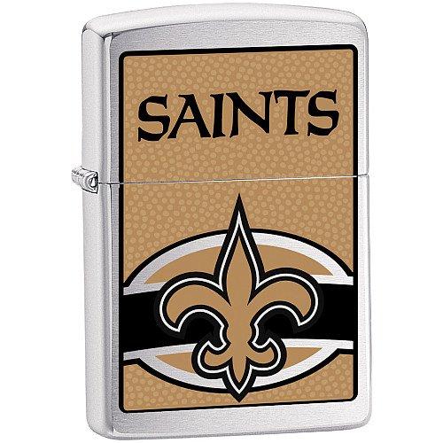 (Zippo NFL Saints Lighter (Silver, 5 1/2 x 3 1/2 cm))