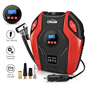 #LightningDeal Air Compressor Oasser Tire Inflator Portable Air Inflator Pump Suitable for Cars Bicycles Balls RV and Other Inflatables with LED Light Accurate Pressure Gauge 12V P6