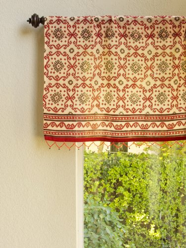 Saffron Marigold Ruby Kilim (CP) ~ Rustic Red Sheer Beaded Window Valance 46×17 For Sale