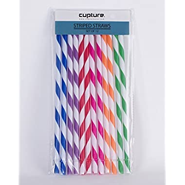Cupture Reusable & Unbreakable Color Striped Straws - 12 Count + Free Brush