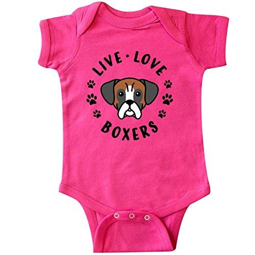 inktastic Live Love Boxers Infant Creeper Newborn Hot Pink