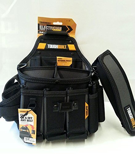 ToughBuilt - Pouch + Shoulder Strap, Adjustable Flashlight Holder, 3 Adjustable Tool Pockets, 25 Pockets and Loops, Tape Measure Clip (Patented ClipTech Hub & Belts) (TB-CT-104)