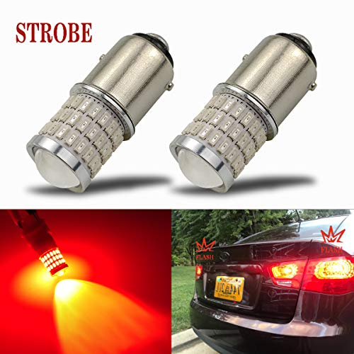 iBrightstar Newest 9-30V Flashing Strobe Blinking Brake Lights 1157 2057 2357 7528 BAY15D LED Bulbs with Projector replacement for Tail Brake Stop Lights, Brilliant Red