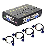 4 Port USB 2.0 VGA KVM Switch Up to 2048x1536 Resolution with USB Hub for PC/ Montior/Mouse/Keyboard Control