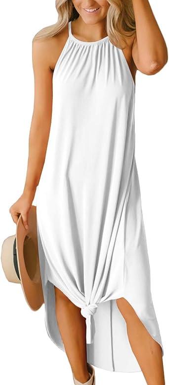 For G and PL Women's Summer Side Slit Halter Maxi Dress