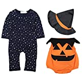 3Pcs Baby Halloween Long Sleeves Jumpsuit Clothing Set and Pumpkin Sleeveless Bodysuit with Magic Cap