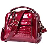 Lucien Hanna Women Handbags leather satchel purse classic handbags for women Shoulder Bags Tote Bag (Wine Red)