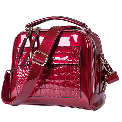 Womens Purses and Handbags Crossbody Red Patent Leather purse handbags for women Shoulder Bags Tote Bag (Wine Red)