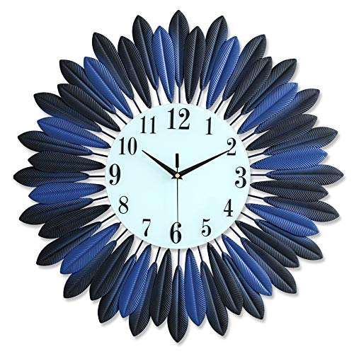 DIY Large Decorative Clock, European Industrial Craft Iron Leaves Non-Sticking Wall Clock Home Living Room Cafe Bar Leaf Decoration 20