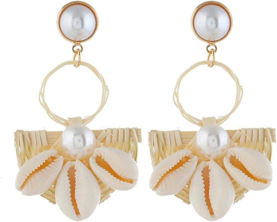 XAFXAL Pendientes De Mujer,Aretes Womens,Moda Mujer Hermosa Hand-Woven Semi-Circle Metal Y Concha Natural Pearl Pendant Pendientes Blanco