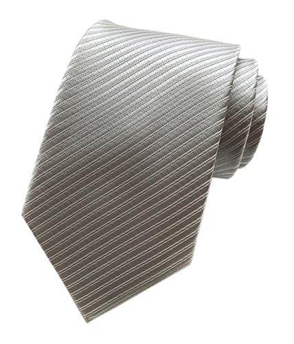 Elfeves Mens Stripes Silver Grey Silk Tie Jacquard Woven Gentlemen Necktie Gifts (Tie Stripe Silver)