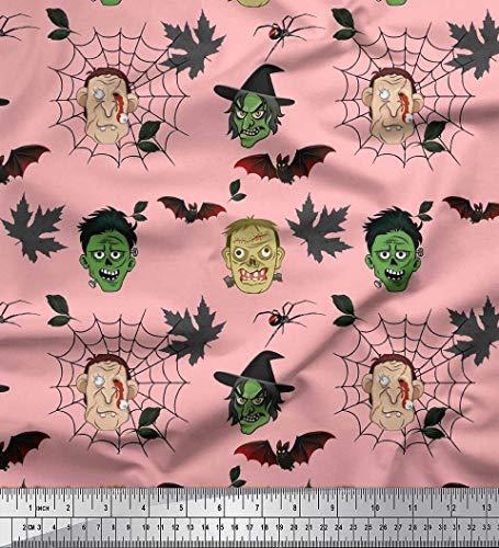 Soimoi Pink Silk Fabric Bat & Ghost Face Halloween Print Fabric by Yard 42 Inch Wide -