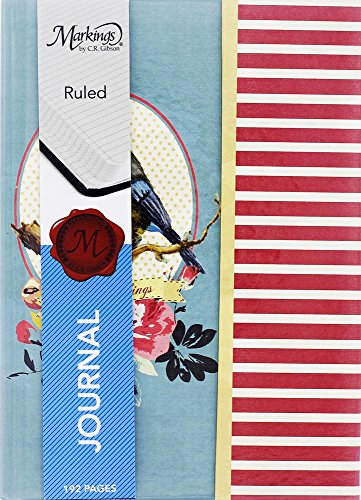 Recycled Cardboard Journal (Cute Retro Floral Bird & Stripes Design College Ruled Notebook Journal Diary with Magnetic Flap Closure, Multicolor, 192 Pages, 6
