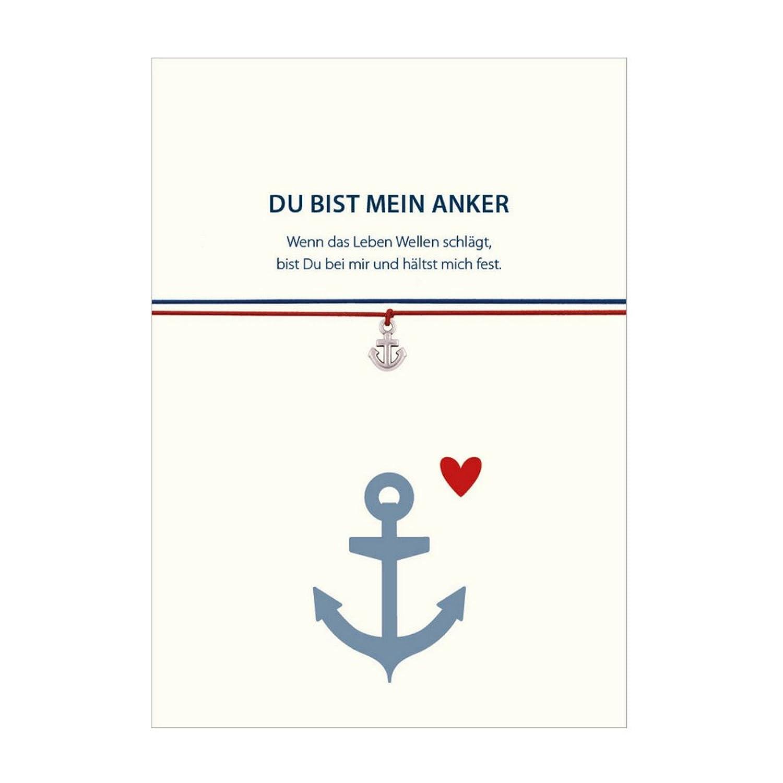Pulsera–DU bist mein ANKER con colgante de ancla plateado, con 2 bandas intercambiables en rojo y azul y tarjeta con mensaje afectivo en alemán