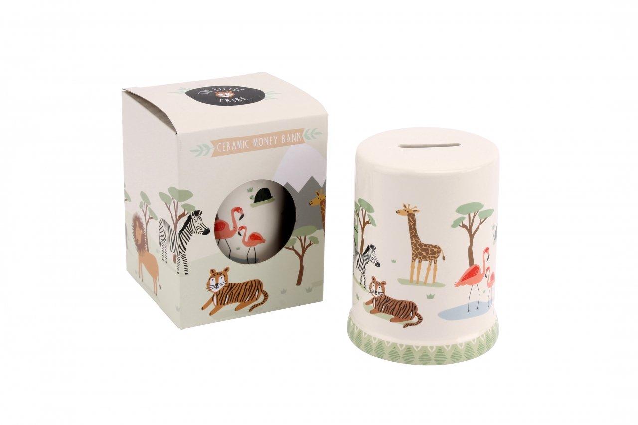 The Little Tribe Safari Money Savings Box Bank with Lions, Tigers Zebras Flamingos and Elephants CGB