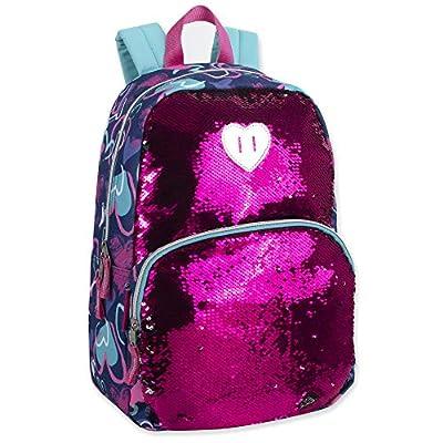 Madison & Dakota Reversible Glitter Sequin Backpacks for Girls and Women, with Padded Back and Adjustable Straps