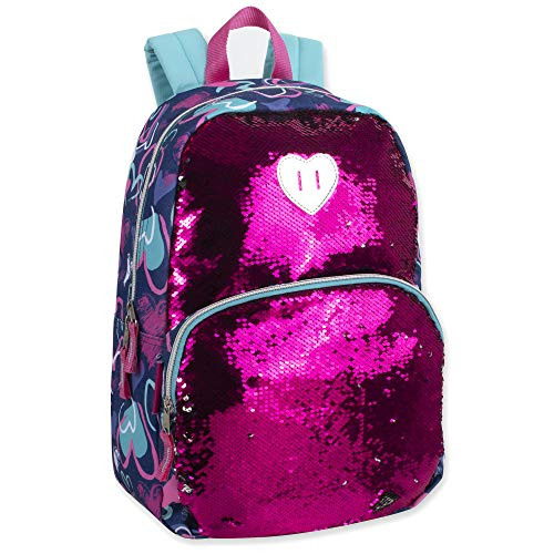 (Madison & Dakota Reversible Glitter Sequin Backpacks for Girls and Women, with Padded Back and Adjustable Straps (Hearts))