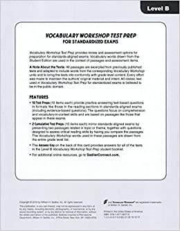 Answer Key for Vocabulary Workshop Test Prep for SAT and ACT