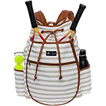 LISH Down The Line Canvas Tennis Racket Backpack - Women's Striped Print Drawstring Racquet Holder Bag
