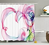 Pink and Navy Shower Curtain Ambesonne Abstract Home Decor Collection, Colorful Smoke Artwork Contemporary Creative Decorating Futuristic Image, Polyester Fabric Bathroom Shower Curtain Set with Hooks, Pink Navy Blue Green