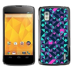 TopCaseStore / la caja del caucho duro de la cubierta de protección de la piel - Teal Pink Futurist Purple - LG Google Nexus 4 E960