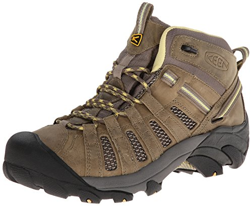 KEEN Women's Voyageur Mid Hiking Boot, Brindle/Custard, 9 M US by KEEN