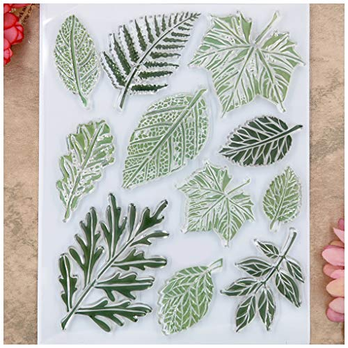 Kwan Crafts Leaves Clear Stamps for Card Making Decoration and DIY Scrapbooking