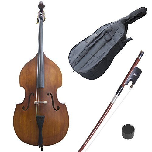 Cecilio CDB Upright Double Bass with an Adjustable Bridge, Bow, Rosin, and Gig Bag (Size 1/2, Natural-100)