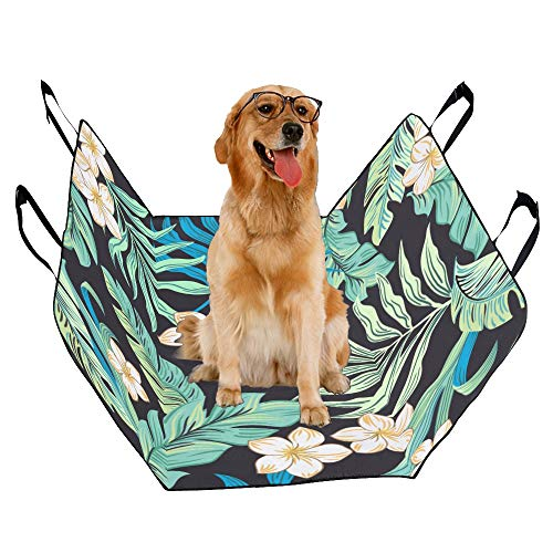 XINGCHENSS Fashion Oxford Pet Car Seat Hibiscus Frangipani Crepe Ginger Anthurium Leaf Flower Image Retro Waterproof Nonslip Canine Pet Dog Bed Hammock Convertible for Cars Trucks SUV