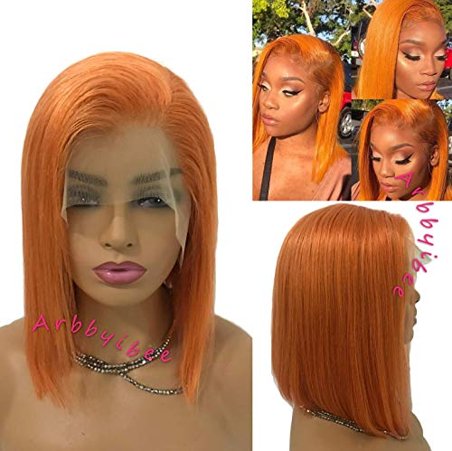 Lace Frontal Bob Wig Remy Human Hair for Women 13x6 Longer Hairline Orange 12 inch Free/Middle Part Pre Plucked with Baby Hair 150% Density Thick and Full