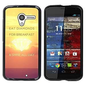 Caucho caso de Shell duro de la cubierta de accesorios de protección BY RAYDREAMMM - Motorola Moto X 1 1st GEN I XT1058 XT1053 XT1052 XT1056 XT1060 XT1055 - Shine Day Diamonds Sunset Yellow Inspiring