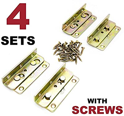 No-Mortise Bed Rail Fittings Complete Set of 4 - Premium Heavy Duty Rust Proof Frame Bracket for Connecting to Wood, Headboards and Foot-Boards, Universal FIT - 3.4 X 1.4 X 0.6 Inch High with Screws from Kutir