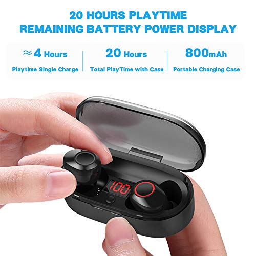 True Wireless Earbuds, 16H Playtime, Bluetooth Headphones 5.0 Mini Stereo Headset with Microphone, IPX5 Sweatproof, Hi-Fi Sound, Volume Control, in Ear Sport Earphones with Portable Charging Box/Case