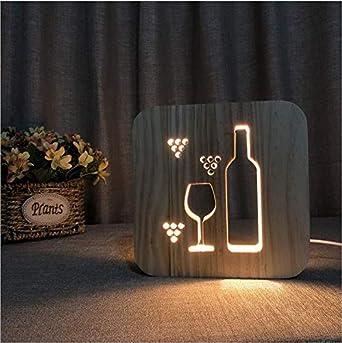 Twtiq Botella de vidrio de vino Madera maciza Hueco Tallado Estilo ...