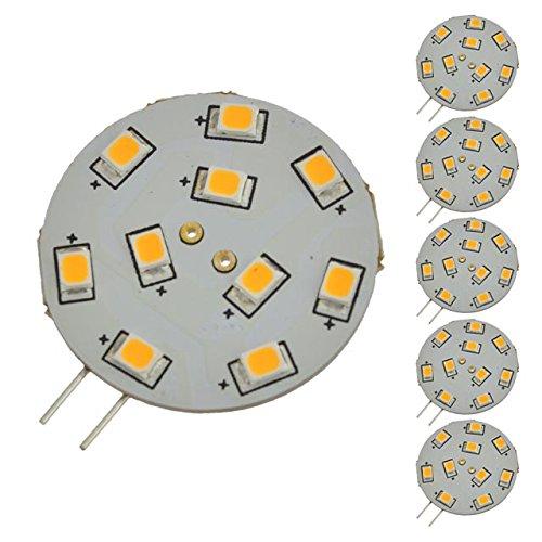 LEDwholesalers G4 Base Disc Type Side-Pin LED Light Bulb with 10xSMD2835 10-30VDC (6-Pack), Warm White 3000K, 1117WWx6