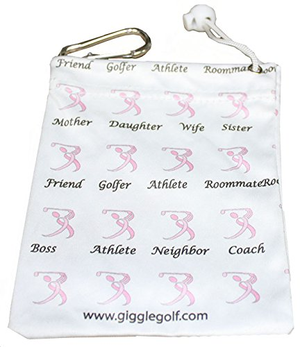 Giggle Golf Par 3 - Pink Ribbon Golfer Towel, Tee Bag And Bling Ball Marker With Hat Clip – Perfect Golf Gift For Women by Giggle Golf (Image #4)