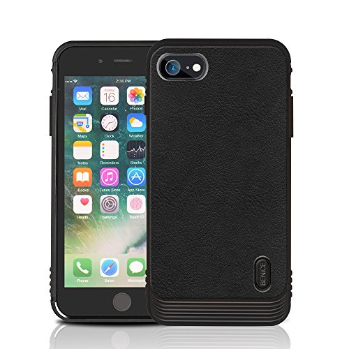 iPhone 7/8 case, MagicSky Ultra Slim Premium PU Leather Shock-absorbing Protective Bumper Case Cover with Built-in Nickel Metal Plate work with Universal Magnetic Phone Car Mount Holder - Black