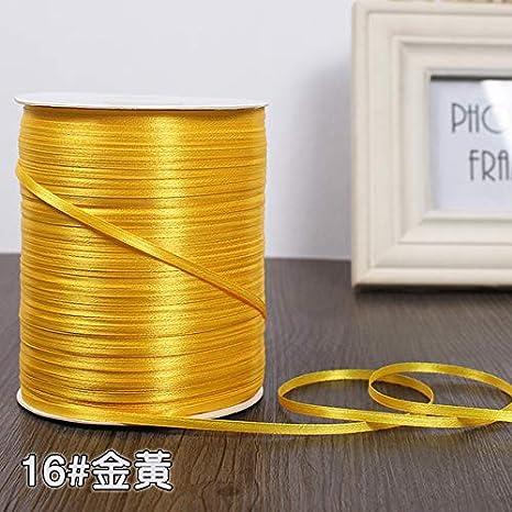 giallo dorato 3mm nastri di raso di seta 22 metri//lotto Natale Halloween Baby Shower festa di compleanno regalo di nozze nastri da imballaggio bianco Ruban