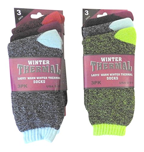Thermal Socks Womens (6 Pair Women's Ladies Warm Thermal Socks with Heat Trap Technology Assorted Beautiful Colors, USA Size 9-11)
