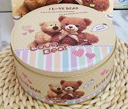 VEA-DE Storage Box multiuso Biscottiera rotonda di Natale serie Bears Candy Box (F)